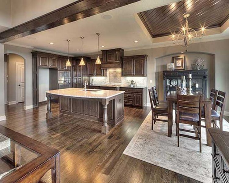 rustic dining room and kitchen